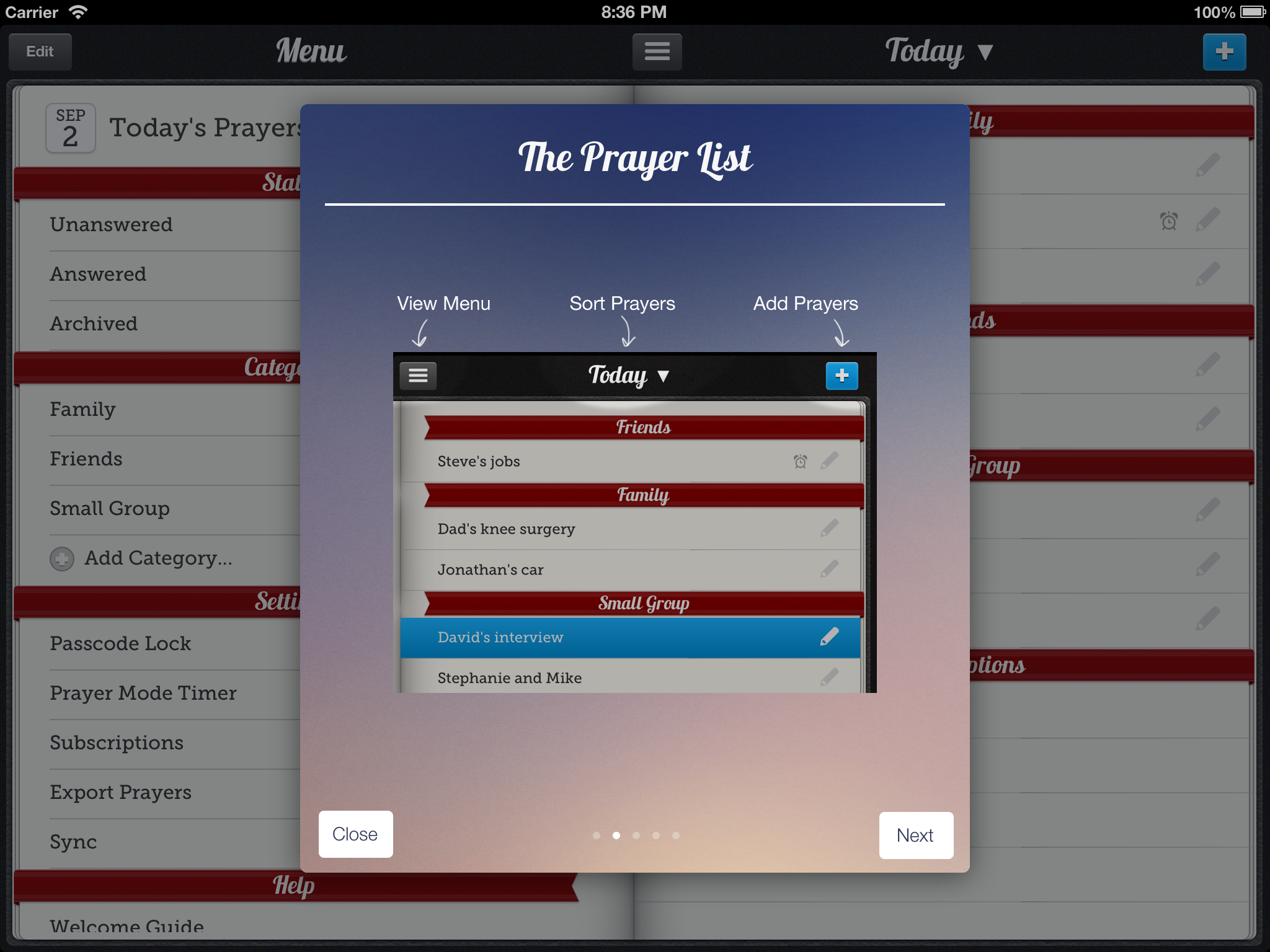 Prayer Notebook menu with categories, settings, and feedback